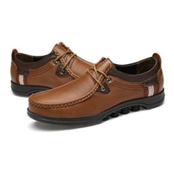 Shoespie Men's Low-Cut Upper Plain Platform Round Toe Leather Shoes