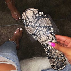 Shoespie Clear Snakeskin Flat Slippers