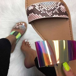 Shoespie Flat Beaded Neon Casual Slippers