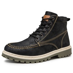 Shoespie Men's Color Block Round Toe Lace-Up Front Boots