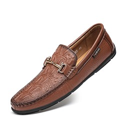 Shoespie Men's Plain Low-Cut Upper Slip-On Embossed Leather Thin Shoes