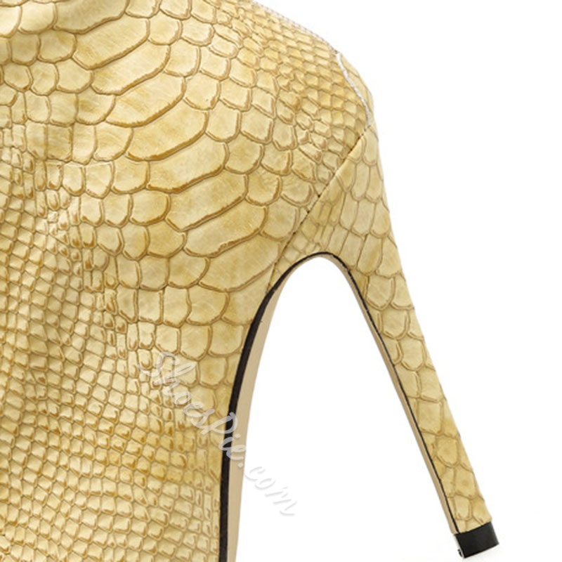 Shoespie Snakeskin Yellow Stiletto Heel Boots