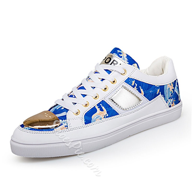 Shoespie Men's Patchwork Lace-Up Flat With Round Toe Skate Shoes