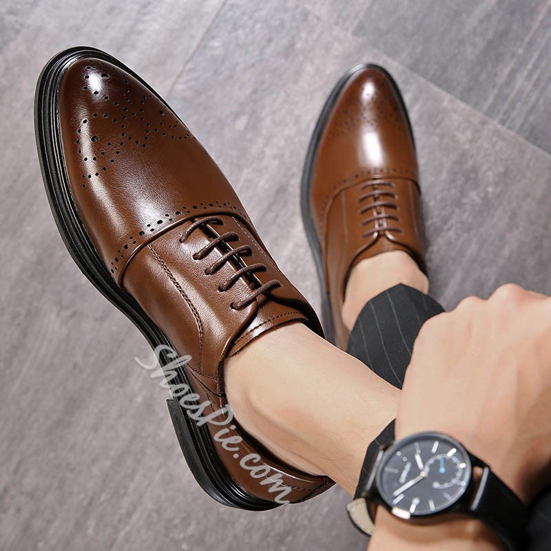 Shoespie Men's Low-Cut Upper Plain Pointed Toe Leather Shoes