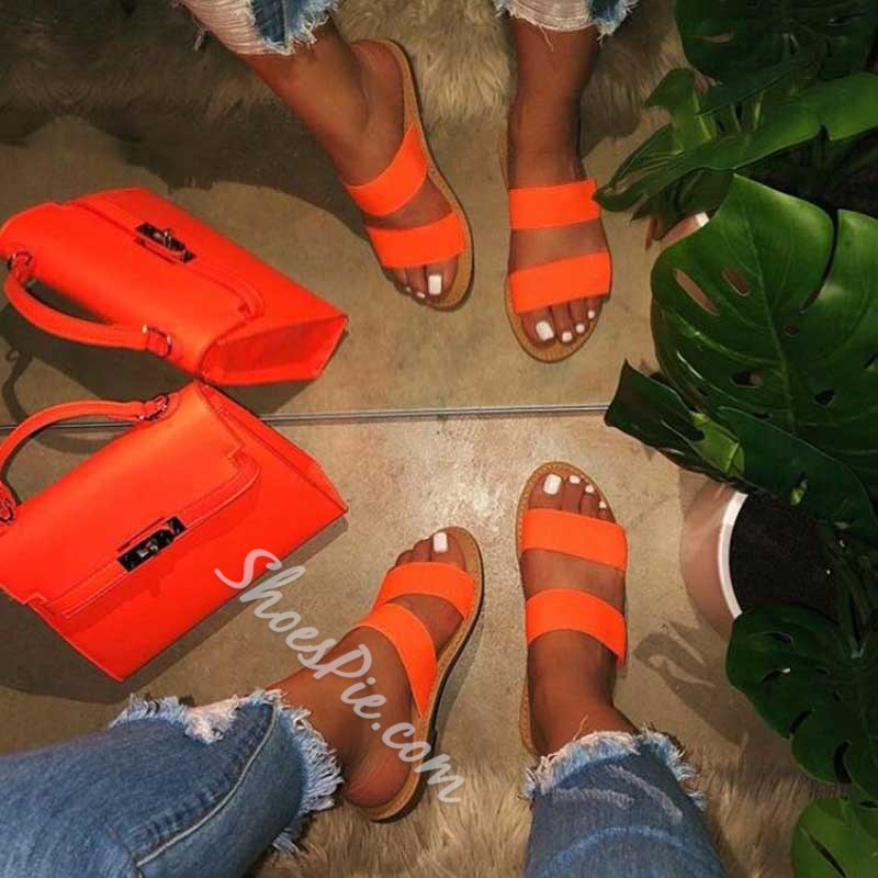 Shoespie Backless Neon Flat Slippers