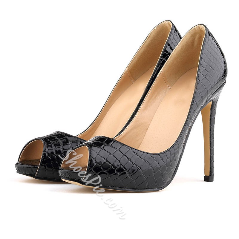 Shoespie Sexy Stiletto Heel Slip-On Peep Toe Pumps