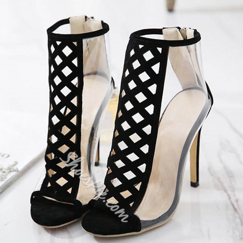 Shoespie Jelly Peep Toe Hollow Stiletto Heel Ankle Boots