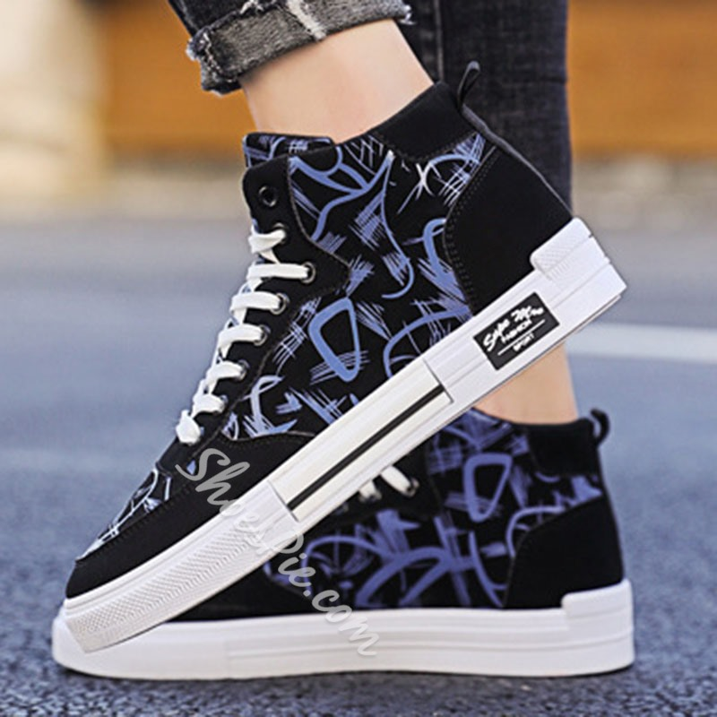Shoespie Men's Mid-Cut Upper Flat With Color Block Round Toe Skate Shoes