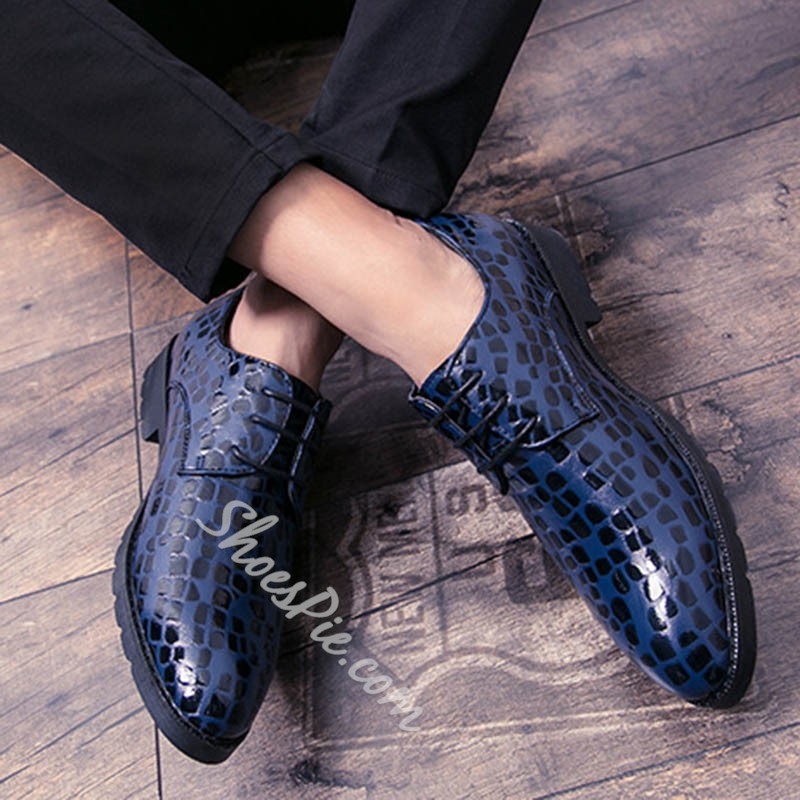 Shoespie Men's Color Block Embossed Leather Low-Cut Upper Pointed Toe Leather Shoes