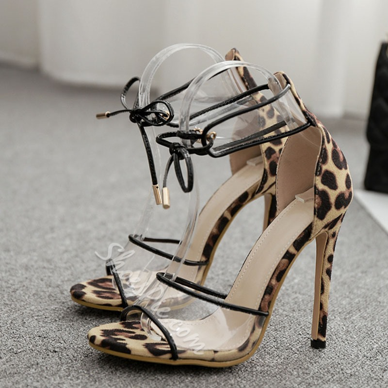 Shoespie Sexy Lace-Up Open Toe Stiletto Heel Leopard Sandals