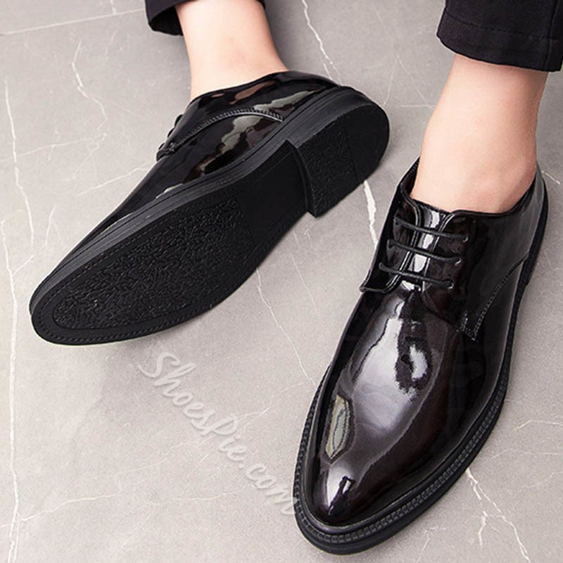 Shoespie Men's Low-Cut Upper Plain Pointed Toe Casual Leather Shoes