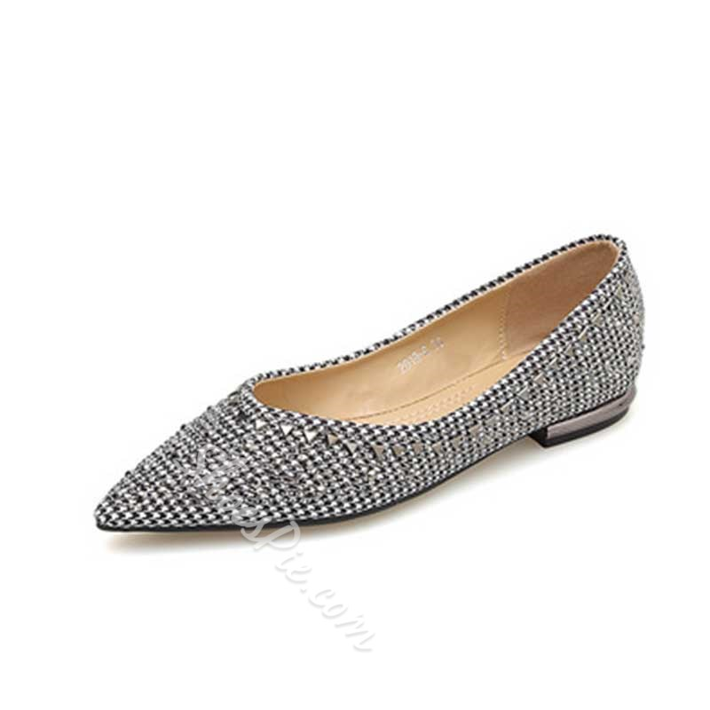 Shoespie Sexy Slip-On Rivet Pointed Toe Low-Cut Upper Thin Shoes
