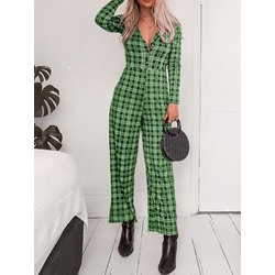 Fashion Button Ankle Length Wide Legs Women's Jumpsuit