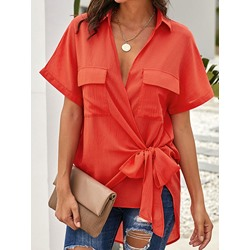 V-Neck Regular Asymmetric Short Sleeve Women's Blouse