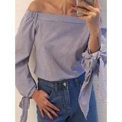 Print Color Block Off Shoulder Long Sleeve Women's Blouse