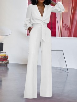 Plain Loose Casual Full Length Women's Jumpsuit