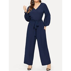 Lace-Up Full Length Western Loose Women's Jumpsuit