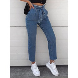 Button Pencil Pants Plain Zipper Women's Jeans