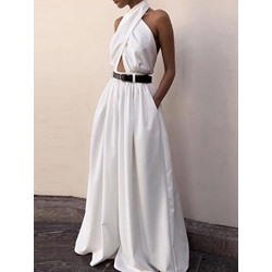 Fashion Plain Full Length Wide Legs Women's Jumpsuit
