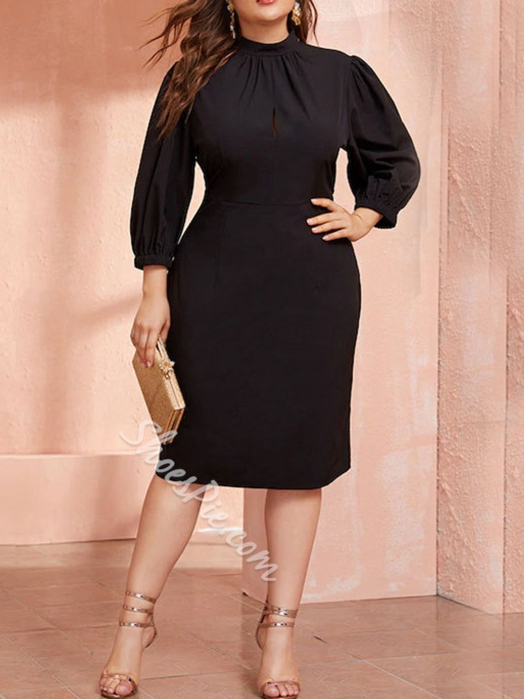 Pleated Stand Collar Three-Quarter Sleeve Pullover Women's Dress