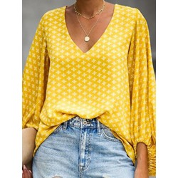 Print Lantern Sleeve Color Block Mid-Length Women's Blouse