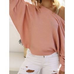 Thin Batwing Sleeve Patchwork Winter Women's Sweater