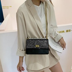 Shoespie PU Plain Sequins Rectangle Crossbody Bags