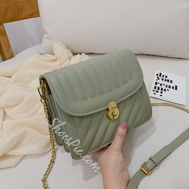 Shoespie PU Thread Rectangle Crossbody Bags