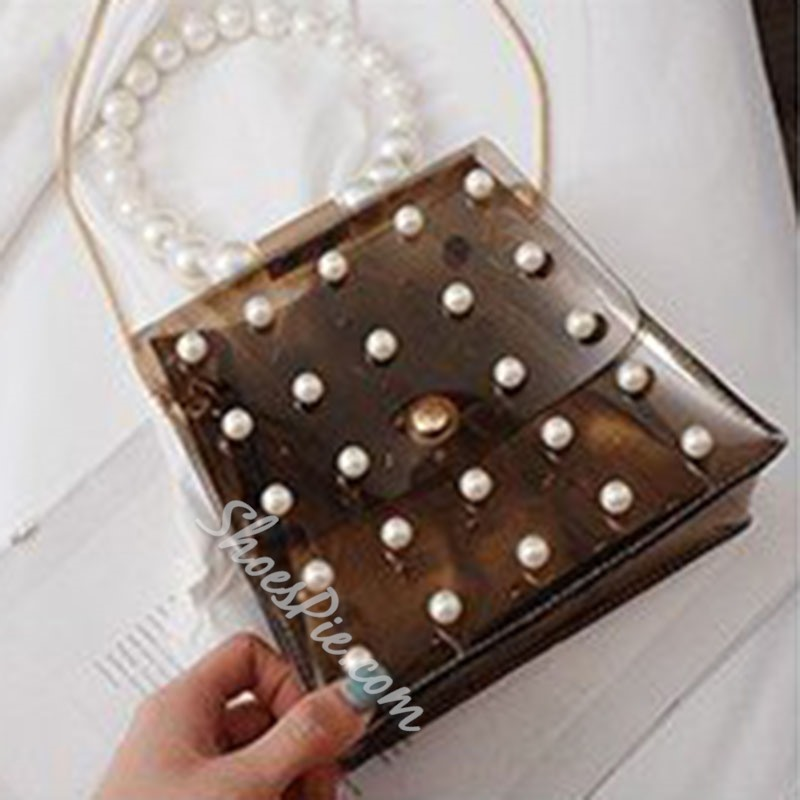Shoespie Plain PVC Beads Tote Bags