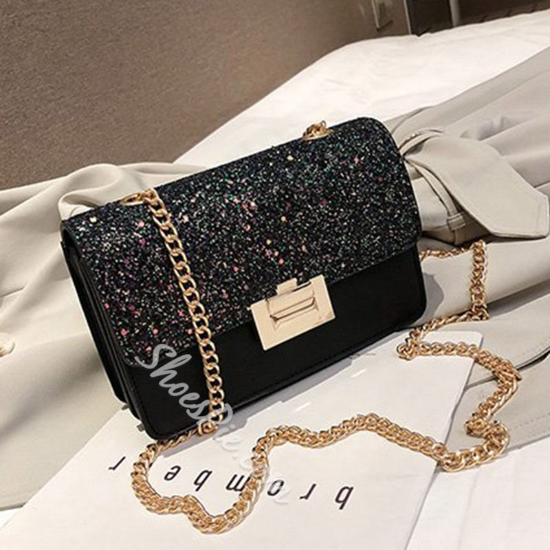 Shoespie PU Sequins Plain Rectangle Crossbody Bags