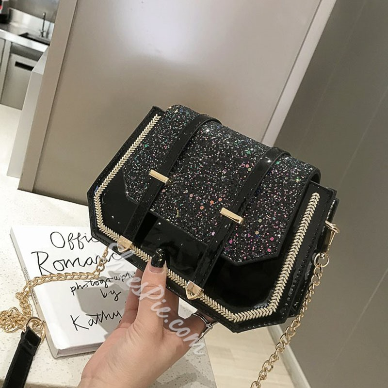 Shoespie Glitter Chain PU Crossbody Bags