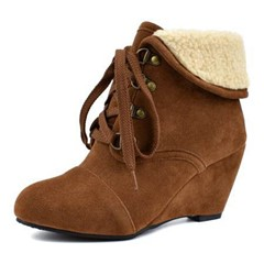 Shoespie Trendy Round Toe Plain Lace-Up Front Casual Boots
