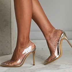 Shoespie Stylish Pointed Toe Slip-On Rhinestone Stiletto Heels