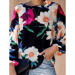 Floral Long Sleeve Round Neck Loose Women's T-Shirt