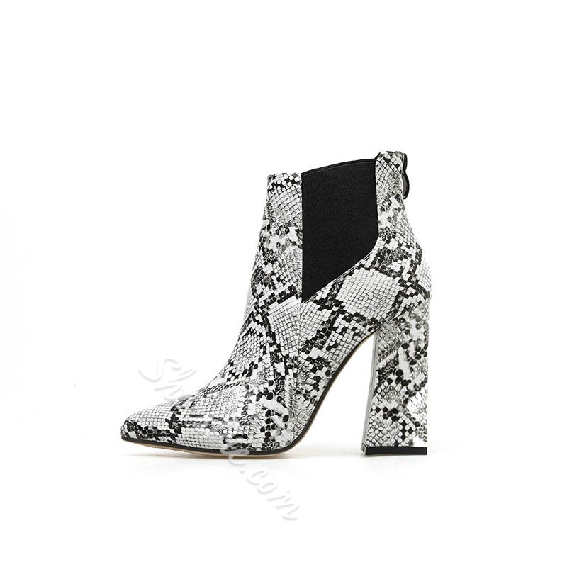 Shoespie Stylish Side Zipper Color Block Chunky Heel Thread Boots