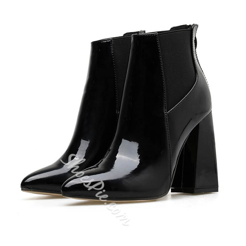 Shoespie Sexy Chunky Heel Pointed Toe Plain PU Boots