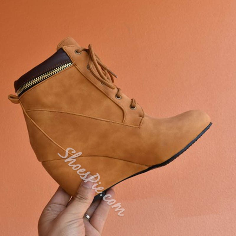 Shoespie Stylish Plain Round Toe Wedge Heel Western Boots
