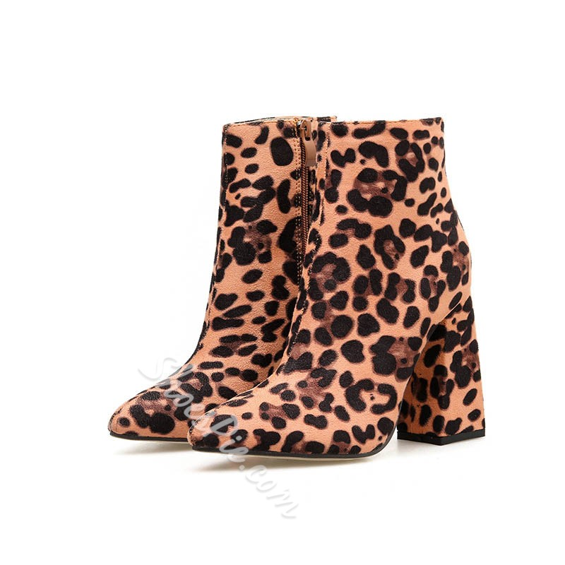 Shoespie Stylish Side Zipper Chunky Heel Leopard Western Boots