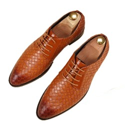Shoespie Men's Low-Cut Upper Plaid Lace-Up Pointed Toe Thin Shoes