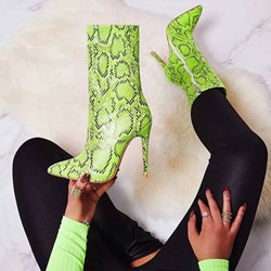 Shoespie Trendy Candy Color Side Zipper Stiletto Heel Western Boots