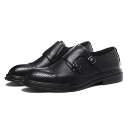 Shoespie Men's PU Low-Cut Upper Plain Round Toe Leather Shoes