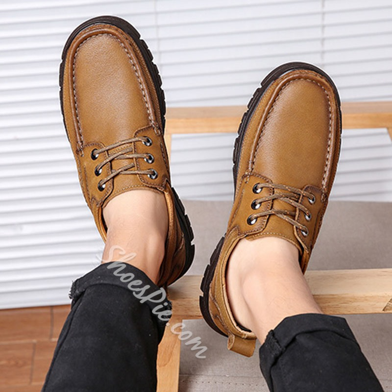 Shoespie Men's Low-Cut Upper Slip-On Plain Round Toe Thread Thin Shoes