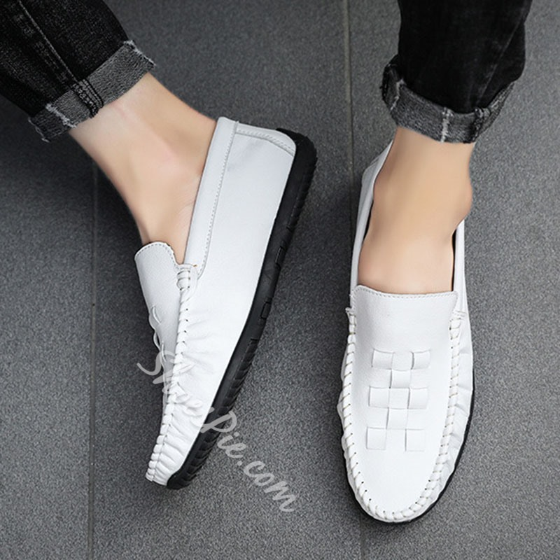 Shoespie Men's Slip-On Low-Cut Upper Plain PU Thin Shoes