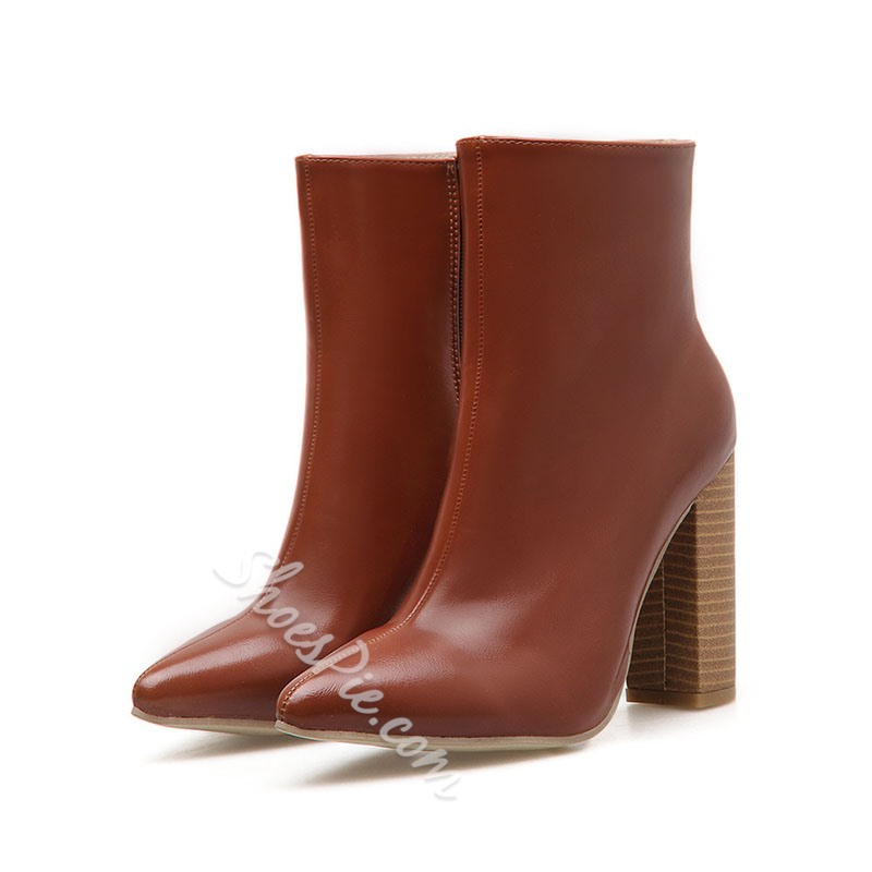 Shoespie Stylish Pointed Toe Chunky Heel Side Zipper Casual Boots
