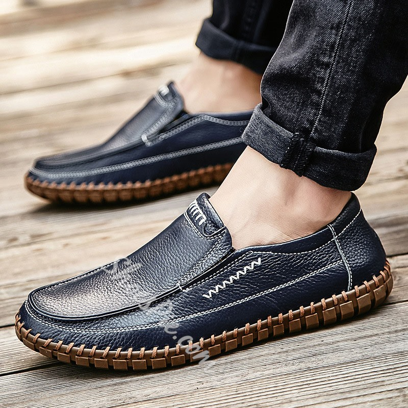 Shoespie Men's PU Low-Cut Upper Color Block Slip-On Round Toe Thin Shoes