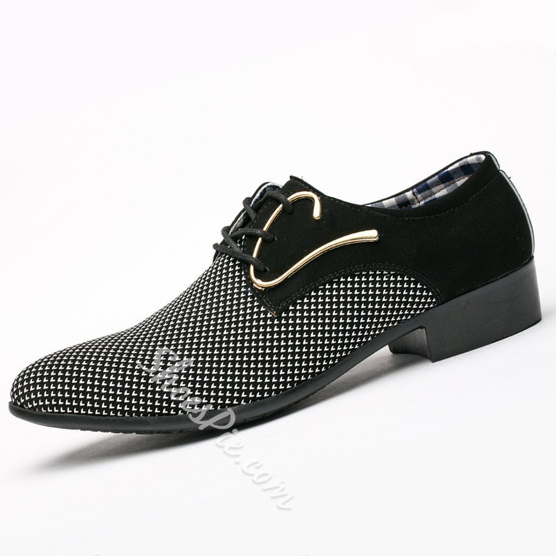 Shoespie Men's Lace-Up Color Block Low-Cut Upper Pointed Toe Thin Shoes