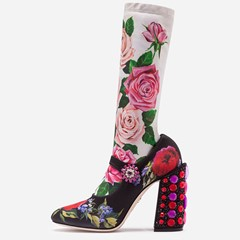 Shoespie Trendy Slip-On Floral Chunky Heel Floral Boots