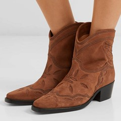 Shoespie Stylish Slip-On Pointed Toe Chunky Heel Thread Boots