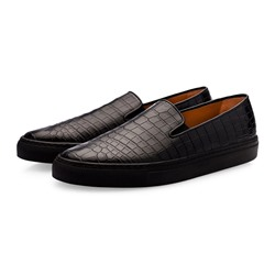 Shoespie Men's Low-Cut Upper Slip-On Plain Embossed Leather Thin Shoes