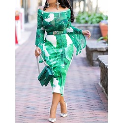 Long Sleeve Off Shoulder Mid-Calf Plant Women's Dress